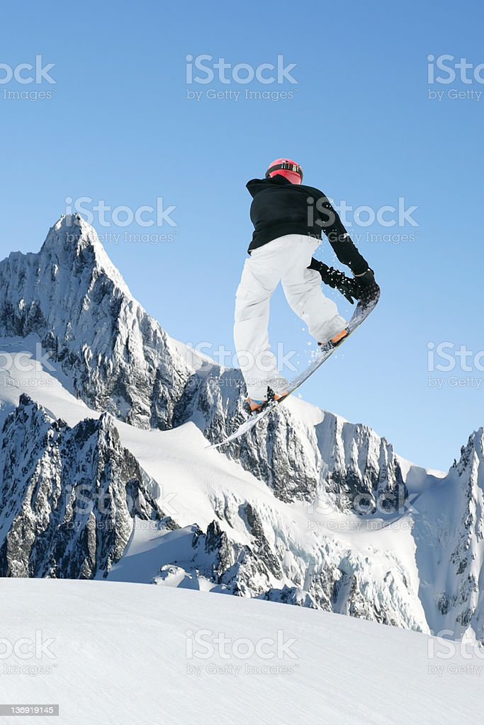 XL big air snowboarding stock photo