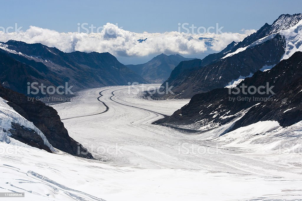 Big Aletsch Glacier, Swiss Alps stock photo