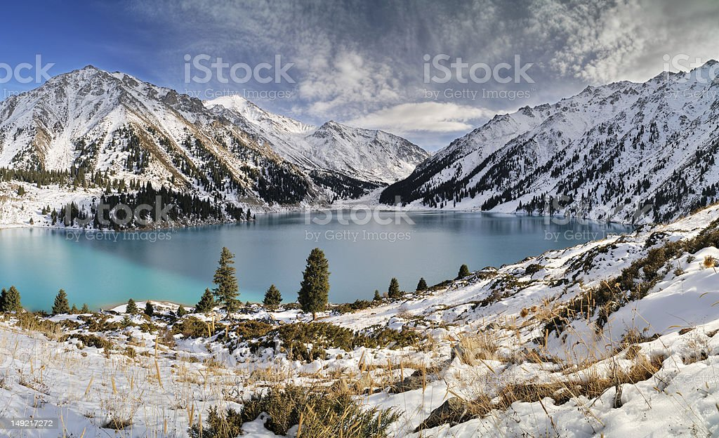 Big Almaty Lake in ZaIli Alatau stock photo