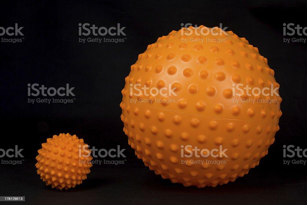 Big and small massage balls stock photo