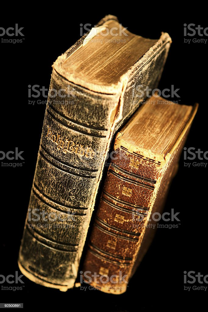 Big and Small Old Bibles royalty-free stock photo