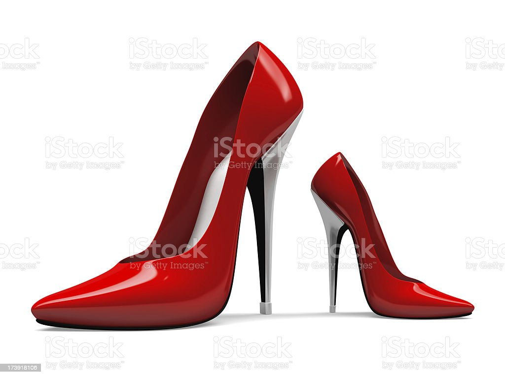 3D Big and Small Red High Heels Shoes stock photo