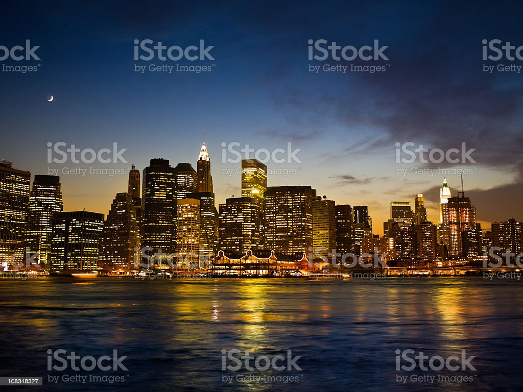 Big Apple New York City Night Scene Manhattan royalty-free stock photo