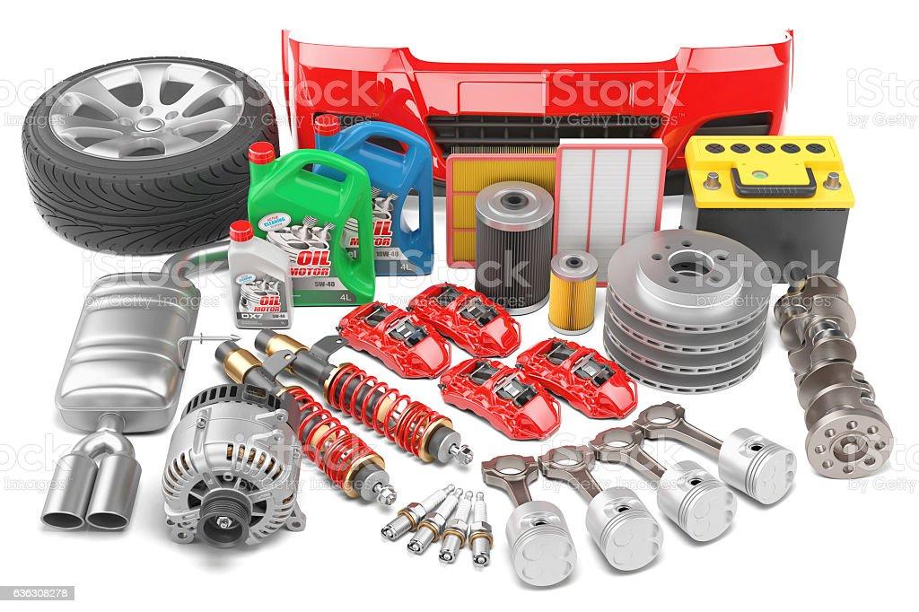 Big auto parts set isolated on a white background stock photo
