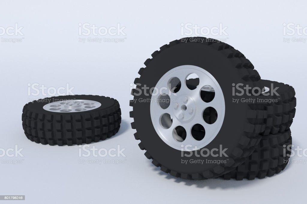 big automobile tires stock photo