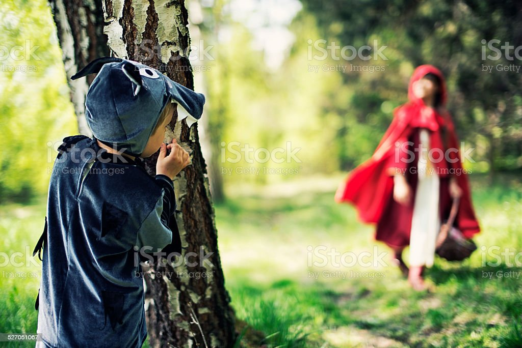 Big Bad Wolf  waiting for Little Red Riding Hood stock photo