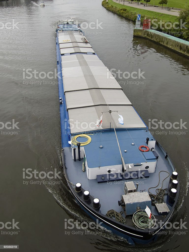 Big barge on Maas river in Netherlands. royalty-free stock photo