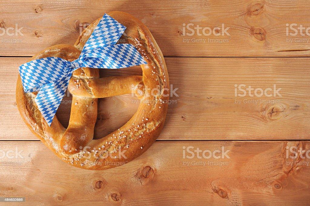 Big Bavarian Oktoberfest soft pretzel stock photo
