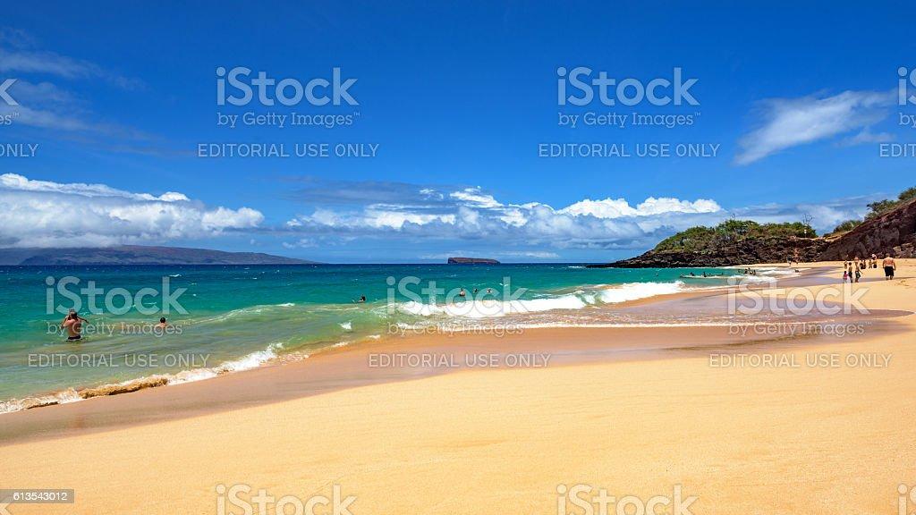 Big beach at Makena State Park on Maui, Hawaii stock photo
