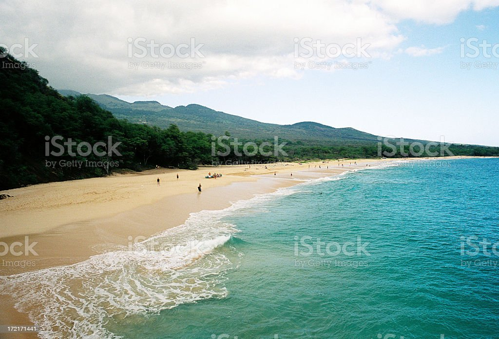 Big beach on Maui Hawaii and pacific ocean scenic stock photo