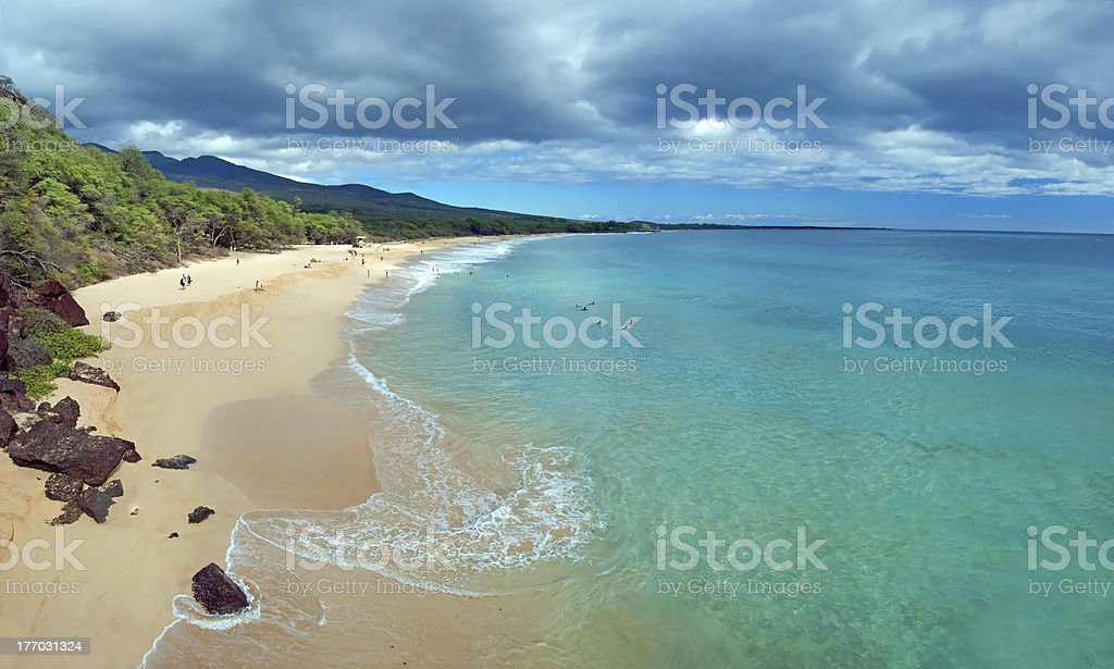 Big beach on maui hawaii island with azure ocean stock photo