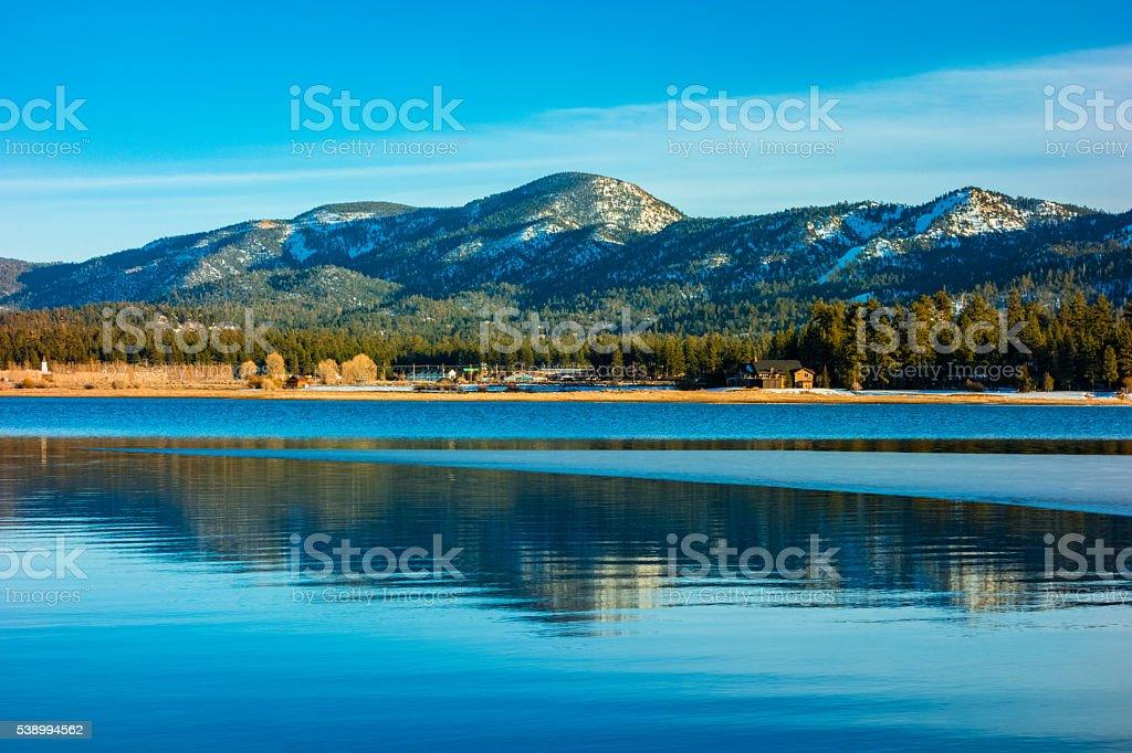 Big Bear Lake in the San Bernardino National Forest, CA stock photo