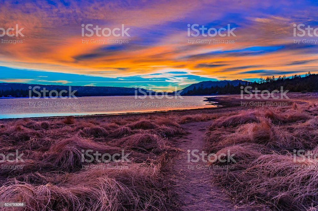 Big Bear Lake romantic sunset with reflections and cloudscape, C stock photo