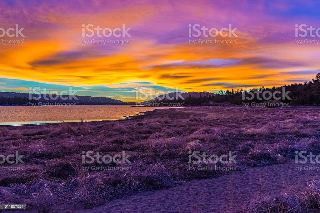 Big Bear Lake romantic sunset,reflections,clouds,CA (P) stock photo