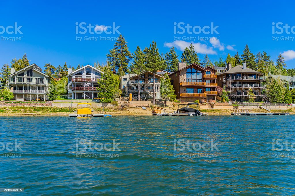 Big Bear Lake vacation residential waterfront homes, CA(P) stock photo
