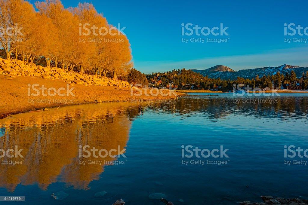 Big Bear Lake's Boulder Bay, San Bernardino National Forest, CA stock photo