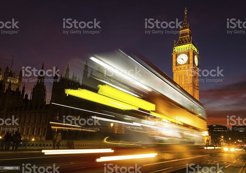 Big Ben and a bus stock photo