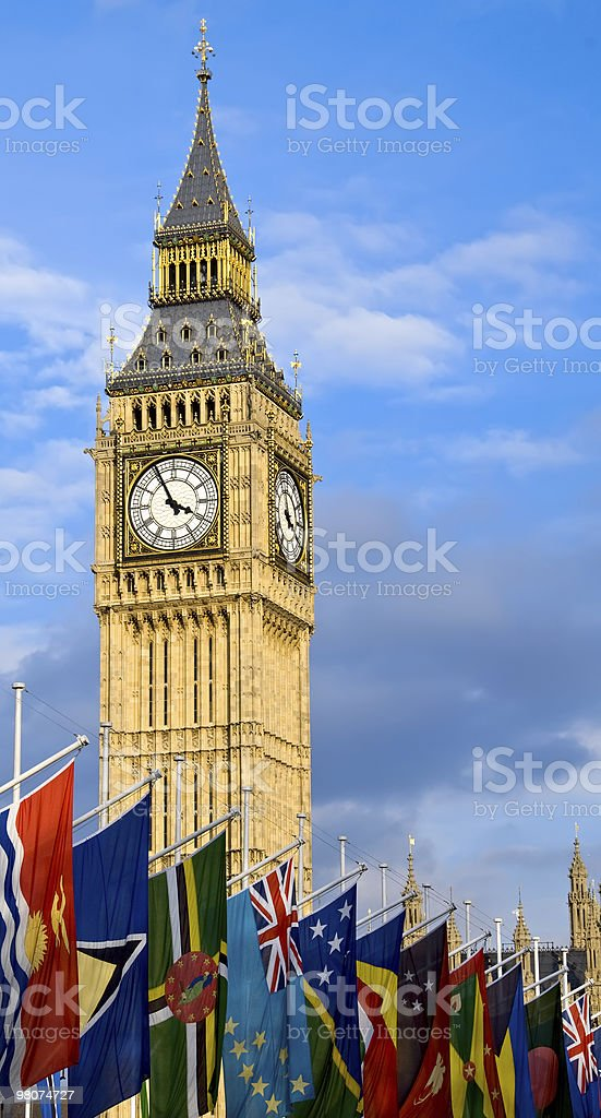 Big Ben and Commonwealth Flags stock photo