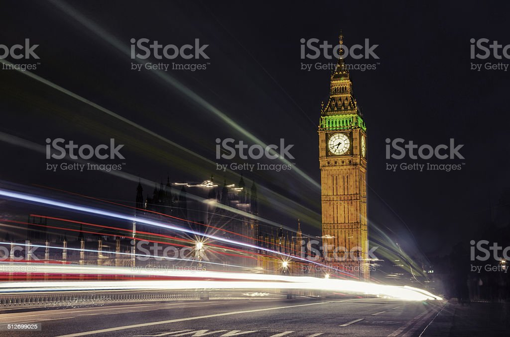 Big Ben and House of Parlament, dramatic night lights, VINTAGE stock photo