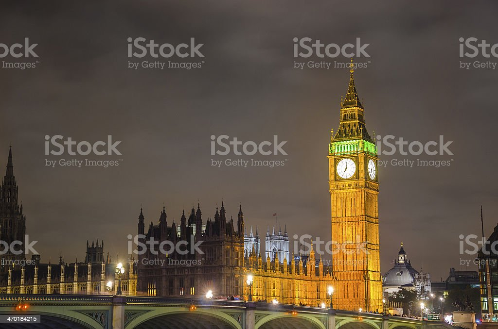 Big Ben and House of Parlament landmark view, Westminister bridge stock photo