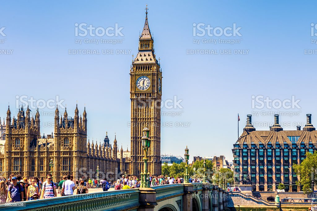 Big Ben and House of Parliament in London stock photo