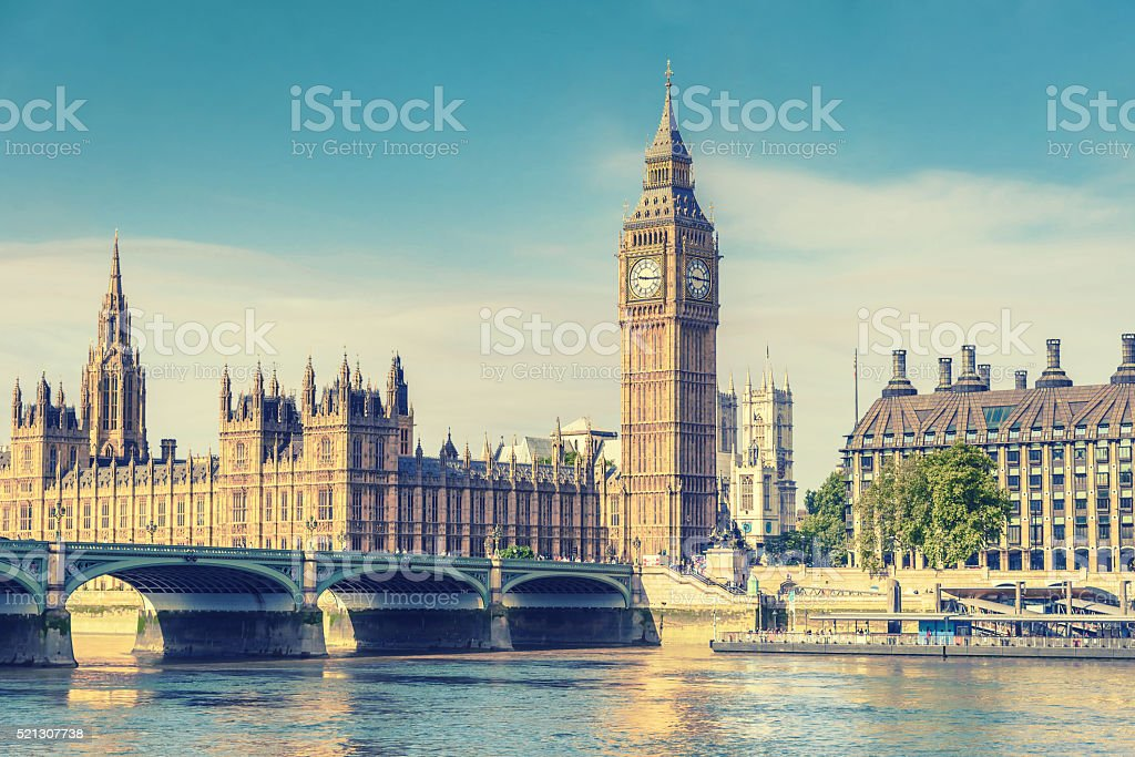 Big Ben and House of Parliament, London, UK, vintage effect stock photo