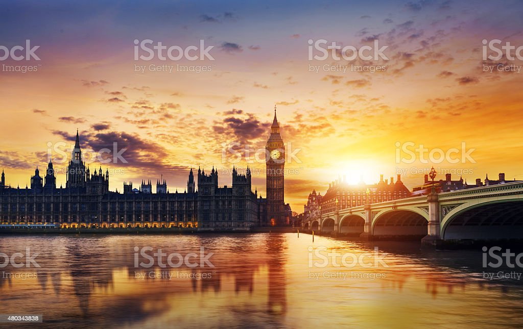 Big Ben and House of Parliament stock photo