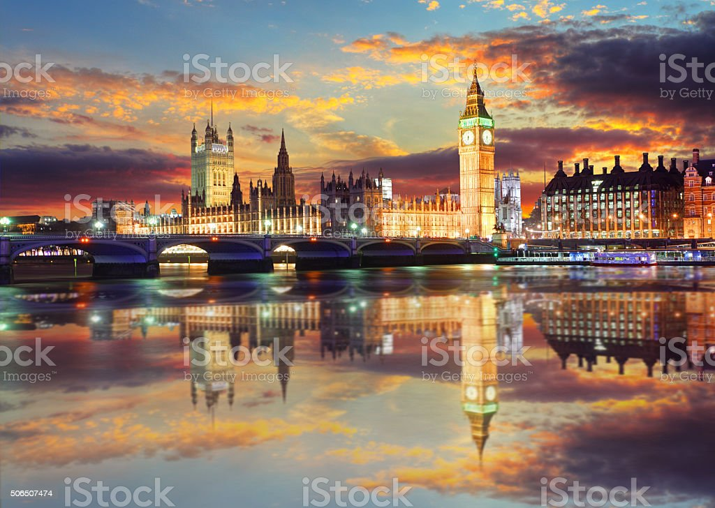 Big Ben and Houses of Parliament at evening, London, UK stock photo