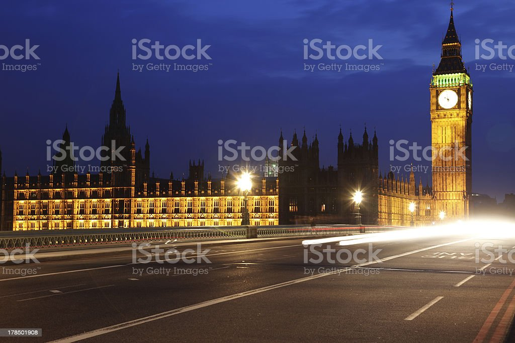 Big Ben and Houses of Parliament at evening royalty-free stock photo