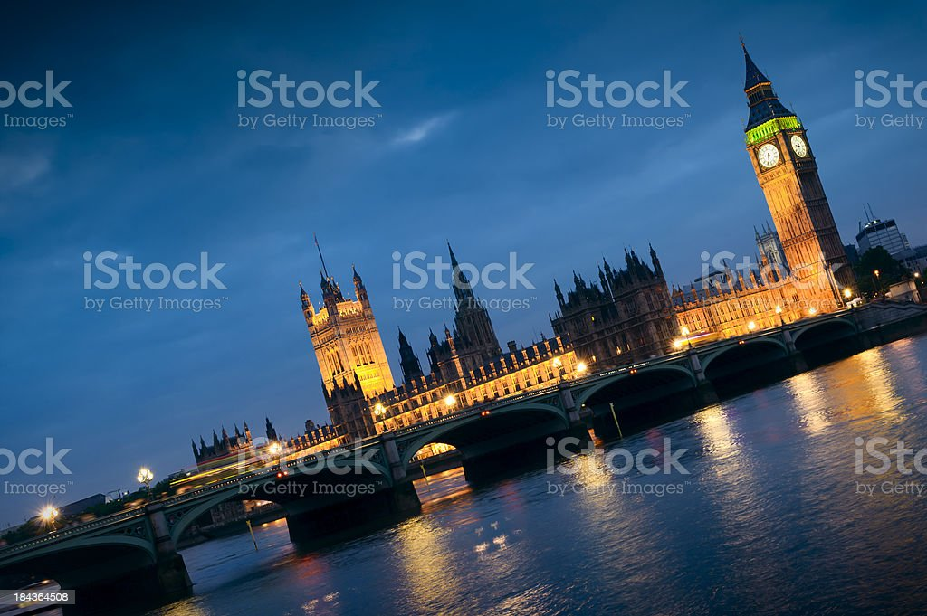 Big Ben and Houses of Parliament at night royalty-free stock photo