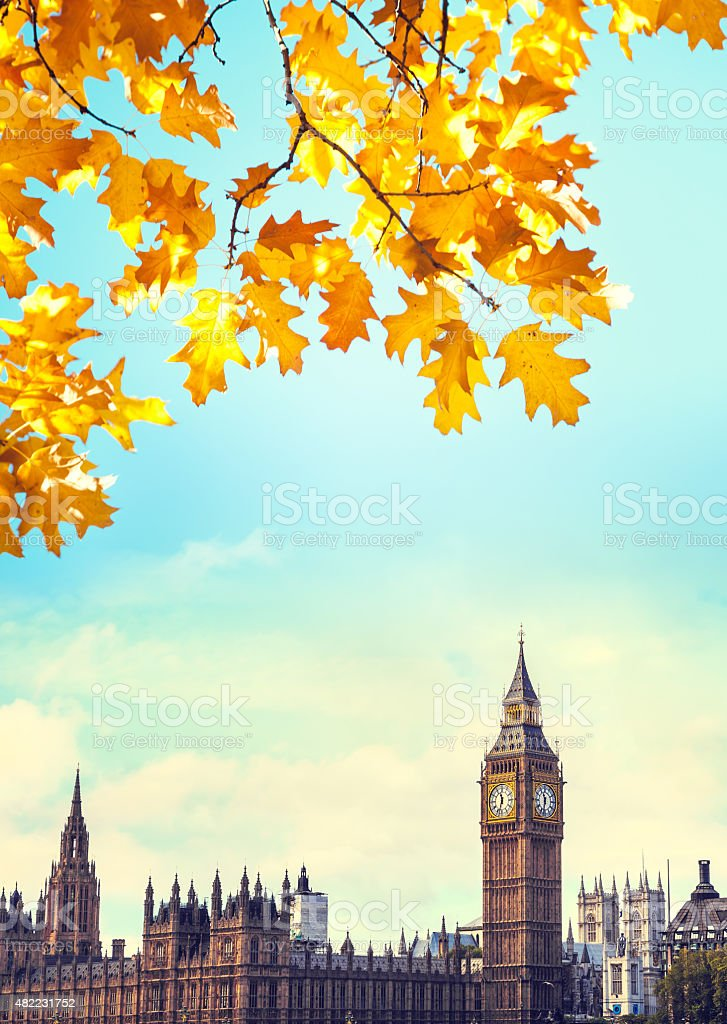 Big Ben And Houses Of Parliament In Autumn stock photo