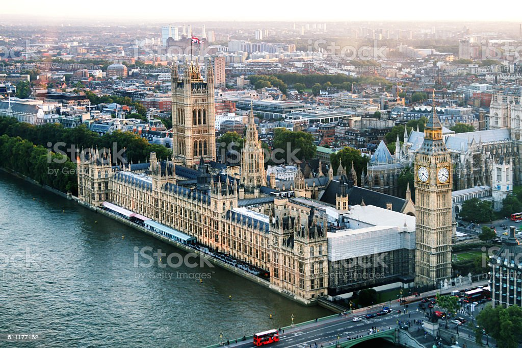 Big Ben and Houses of Parliament On River Thames, Dusk stock photo