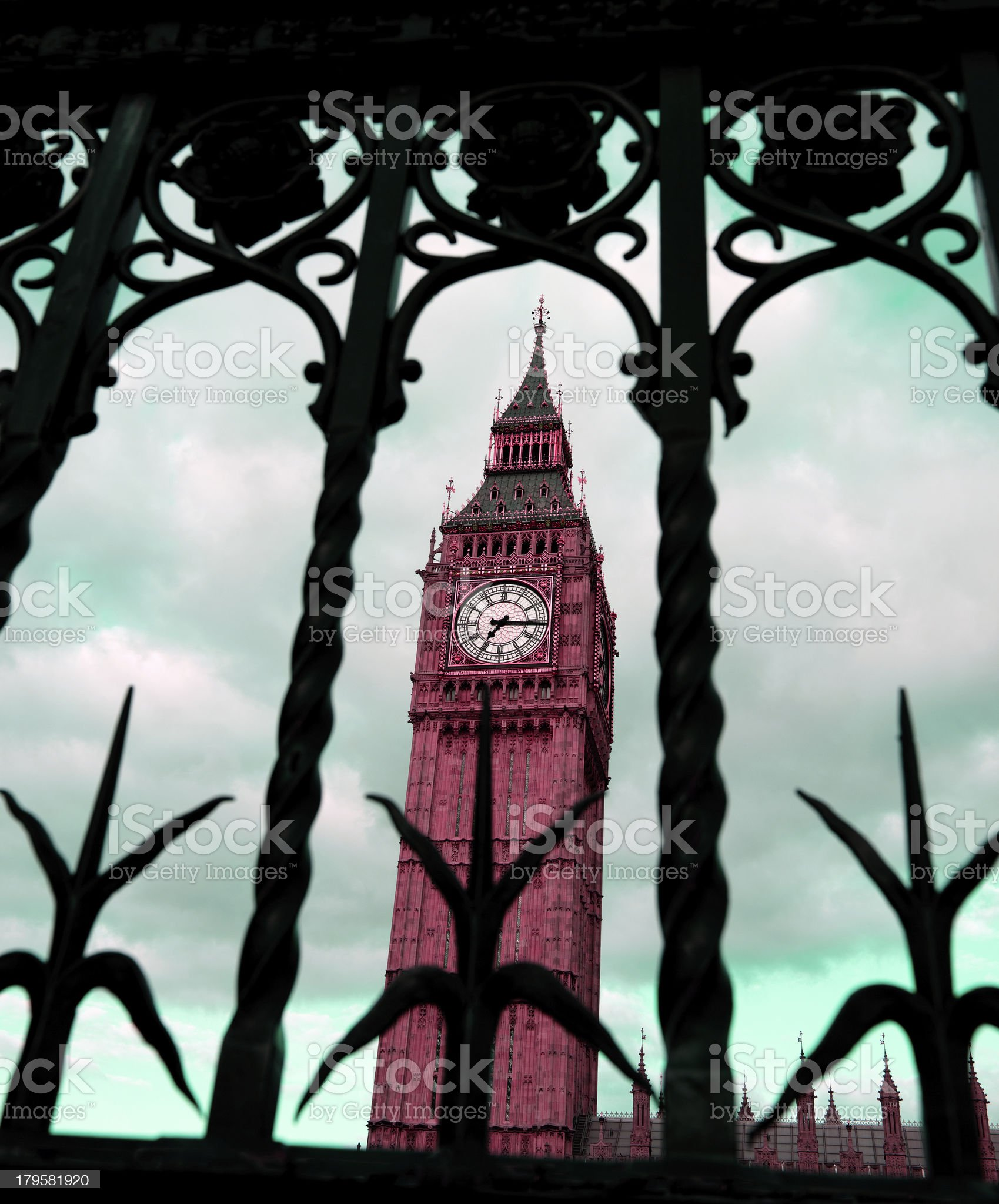 Big Ben and iron fence. royalty-free stock photo