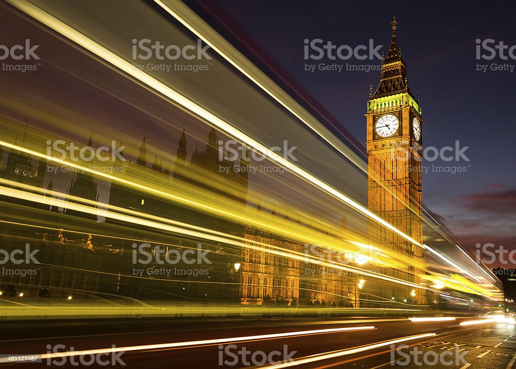 Big Ben and light trail stock photo