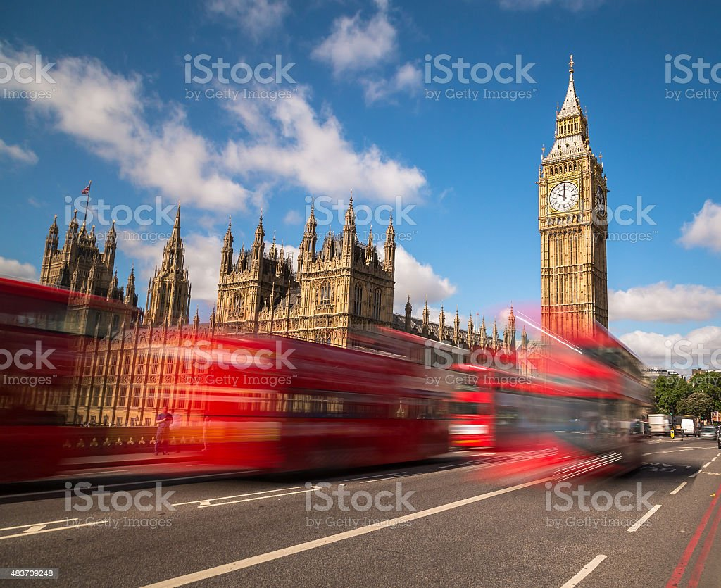 Big Ben and London Buses stock photo