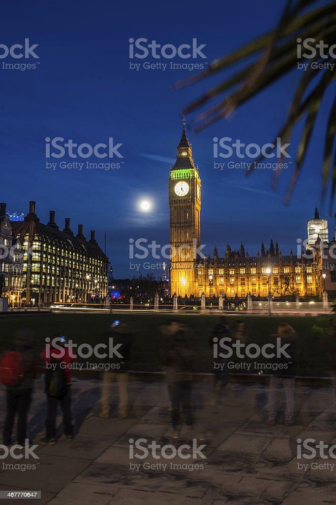 Big Ben and London Eye at night royalty-free stock photo