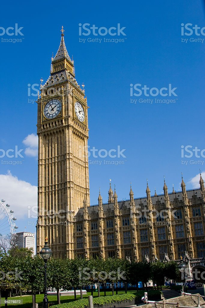Big Ben and London Eye royalty-free stock photo