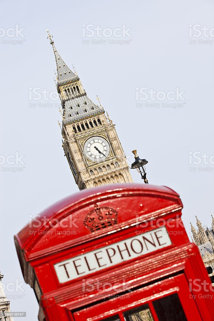 Big Ben and London Telephone booth royalty-free stock photo