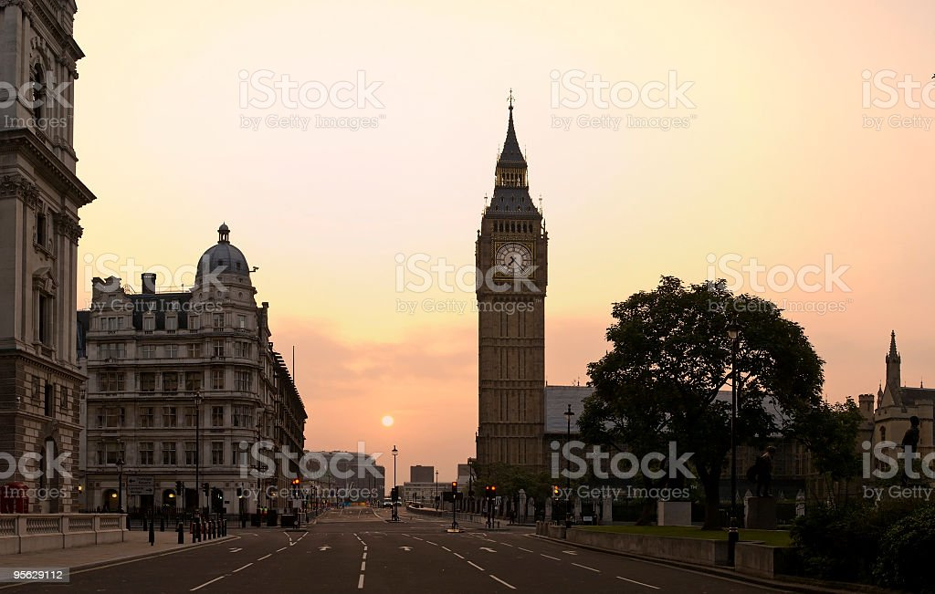 Big Ben and Parliament dawn panorama, London stock photo