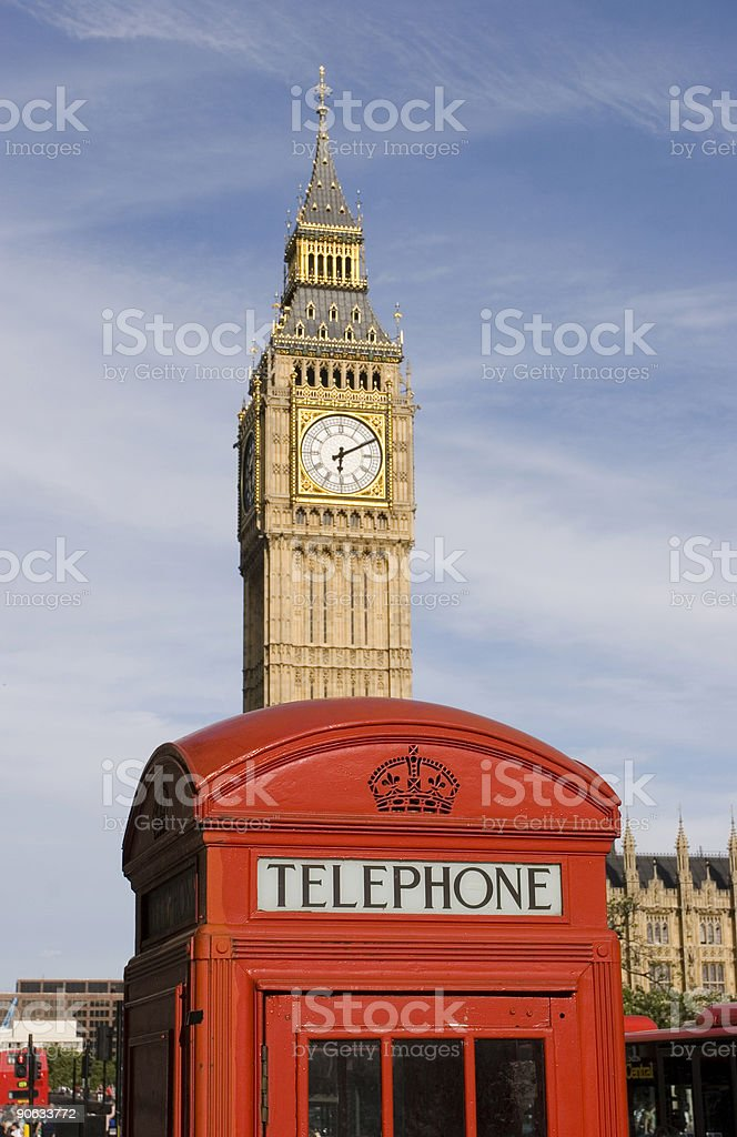 Big Ben and phone booth royalty-free stock photo