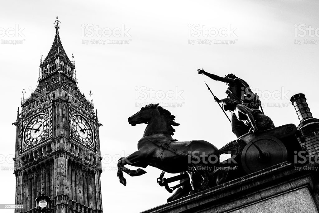 Big Ben and Queen Boadicea at Westminster in London stock photo