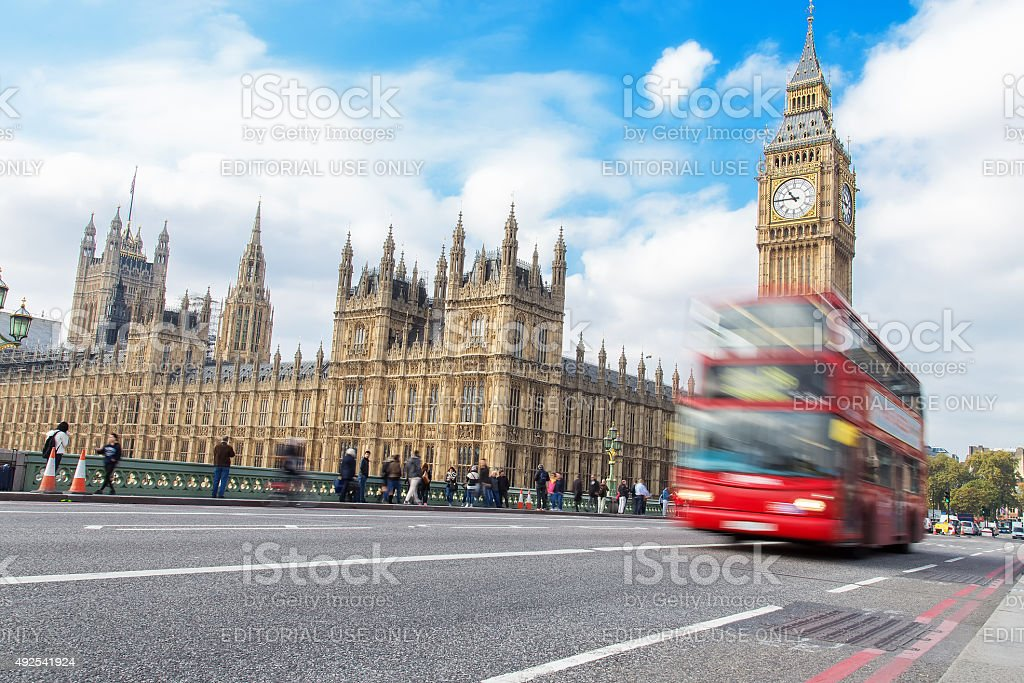 Big Ben and Red Bus in London stock photo