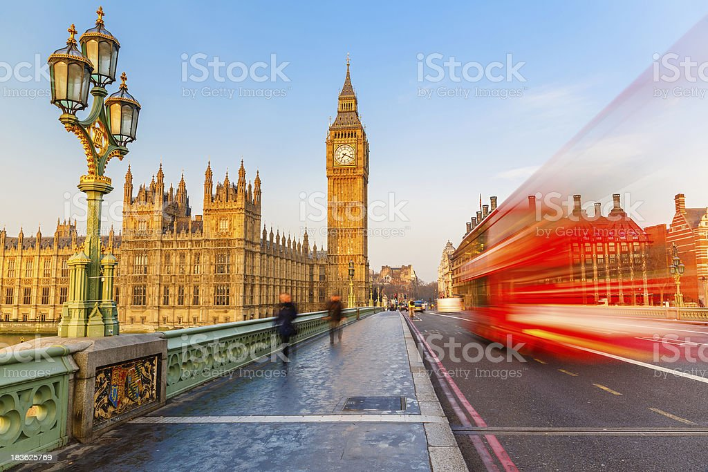 Big Ben and red double-decker bus, London stock photo