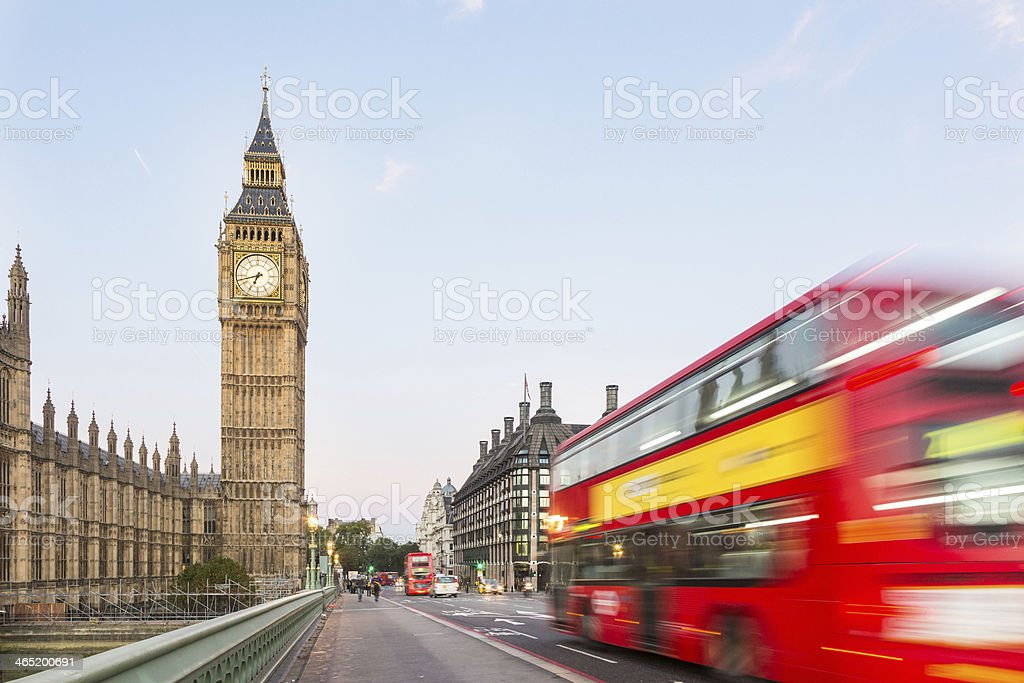 Big Ben and Red Double-Decker Bus stock photo