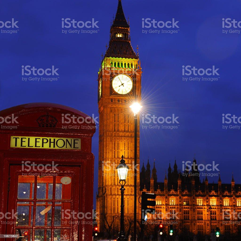 Big Ben and Red Phone Box at Night royalty-free stock photo