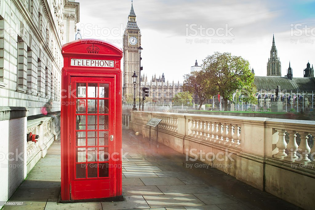 Big ben and red phone cabine stock photo