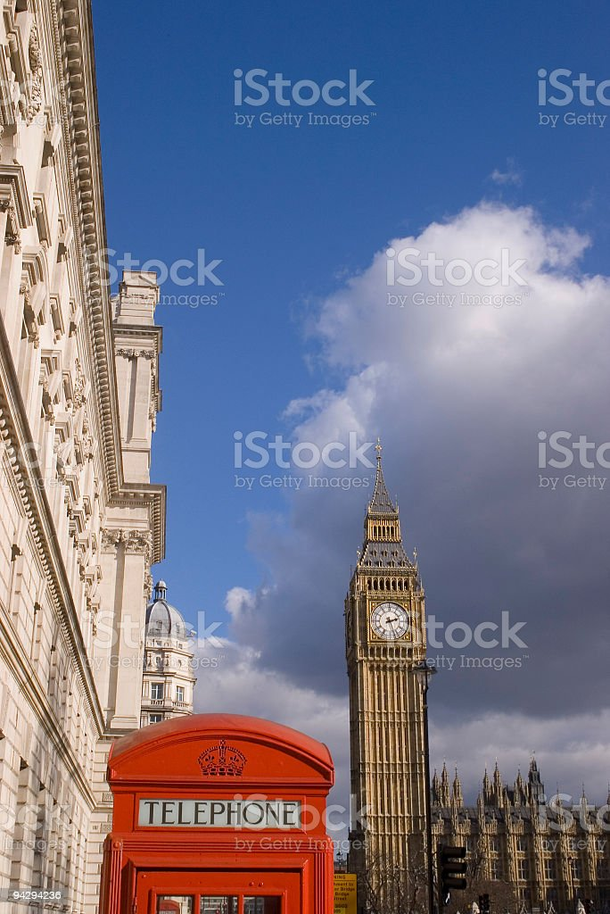 Big Ben and red telephone box stock photo