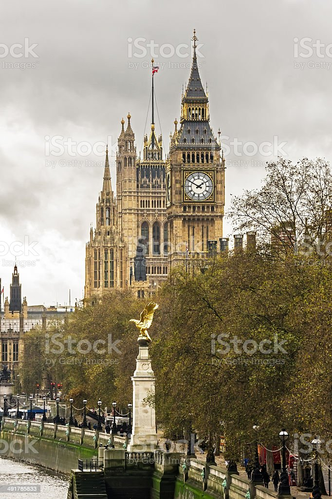 Big Ben and Royal Air Force Memorial, London stock photo