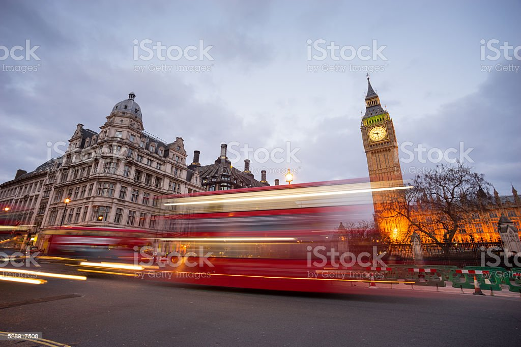 Big Ben and statue of Sir Winston Churchill, London, England stock photo