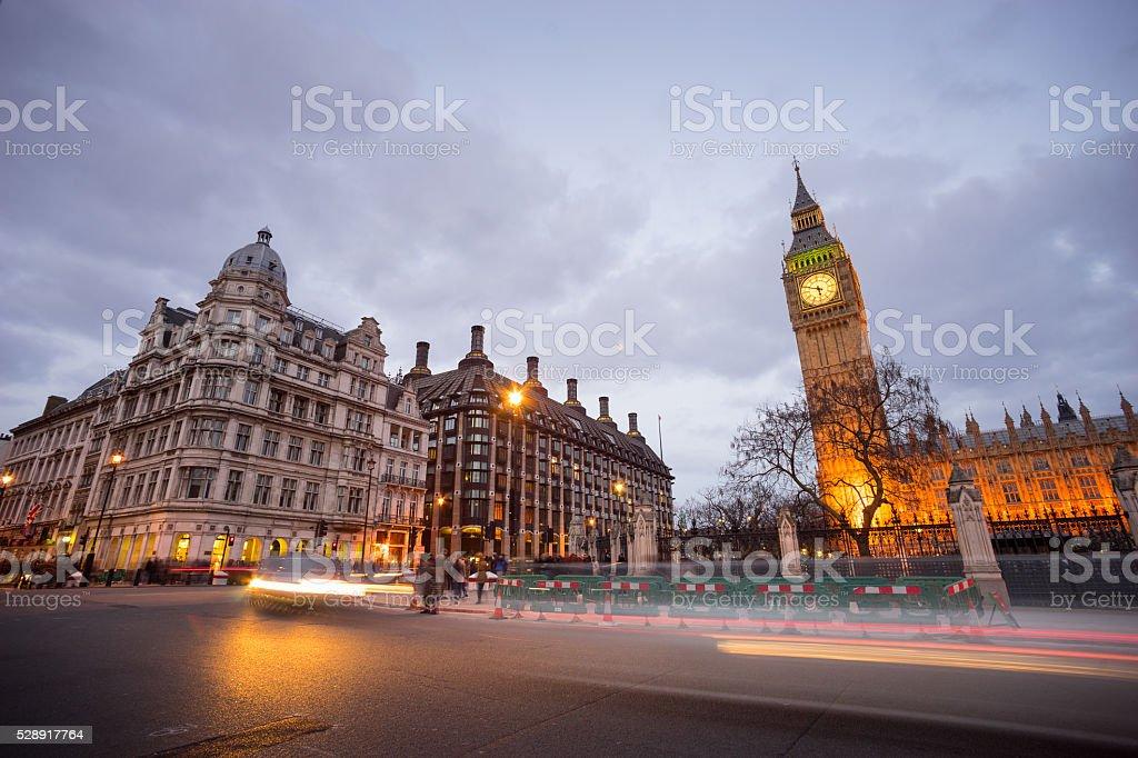 Big Ben and statue of Sir Winston Churchill, London, England stock photo